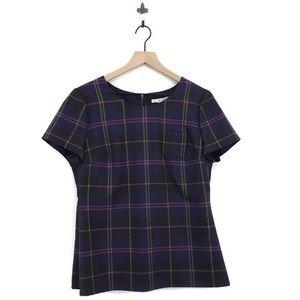 Boden Hattie Plaid Short Sleeve Top Wool Blend 10